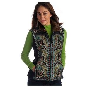 Bob Mackie paisley embroidered fleece vest